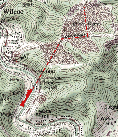 Location of the Alpheus Coal Preparation Plant in solid red, with the dashed red line indicating the refuse conveyor.